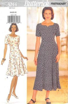 BUTTERICK 3244 - FROM 1994 - UNCUT - MISSES DRESS