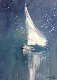 Abstract Sailboat Painting On Canvas Small Abstract Seascape #OilPaintingOnCanvas