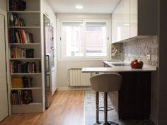 modern Kitchen by Reformmia Interior Desing, Rental Property, Corner Desk, Bookcase, Shelves, Cabinet, Kitchen, Table, Furniture