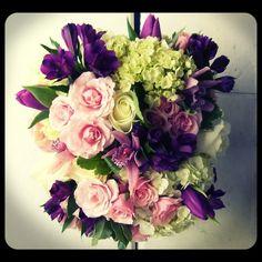 21st birthday celebration..hydrangea, tulips, alstromeria, spray roses, cymbidium orchids.  Roberts Flowers of Hanover, Hanover, NH