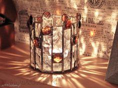 Lampion, świecznik witrażowy Dorotka. $34