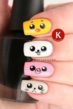 FingerFood's Theme Weeks: Cute: Japanese Kawaii Animals — Nagelstudio Bird Nail Art, Animal Nail Art, Flower Nail Art, Nail Art Diy, Girls Nail Designs, Cool Nail Designs, Simple Acrylic Nails, Best Acrylic Nails, Minimalist Nails