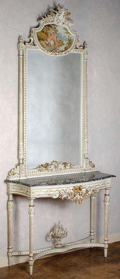 Antique Louis XVI Painted Console / Trumeau   Trumeaux   Inessa Stewart's Antiques~ Cira 1800
