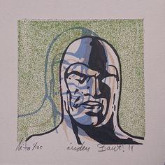 """Lithography """"Portrett av ånden som går"""". 10x10 cm. Artist: Ronny Bank. Want it? Go to http://artbyhand.no/produkt/billedkunst/portrett-av-anden-som-gar"""