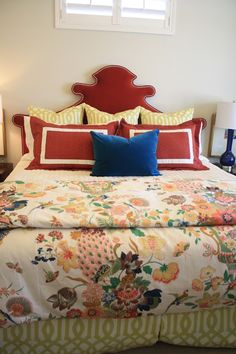 6th Street Design School: Utah Valley Parade of Homes -  A Feast for the Eyes with Schumacher Lansdale Bouquet fabric for duvet