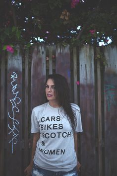 "Cars Bikes Scotch & Women.  The ""Priorities"" Tee by Scotch and Iron. Available in mens sizes from S-2XL."