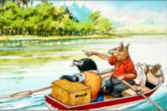 Mole and Rat See Someone on the Riverbank (Original) by Wind in the Willows (Nadir Quinto) at The Illustration Art Gallery