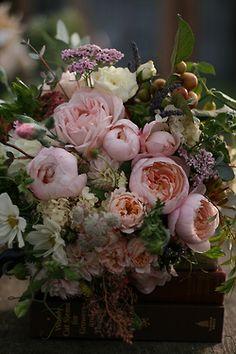 Lush romantic garden flowers