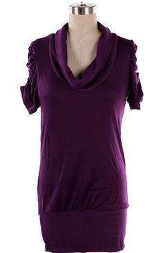 Now only $16 Soft stretchy long sweater/tunic. Cowl neck line and ruched sleeves