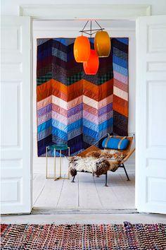 jessica ogden quilt - hans wegner flag halyard chair - vistosi chandelier - mccollin bryan side table
