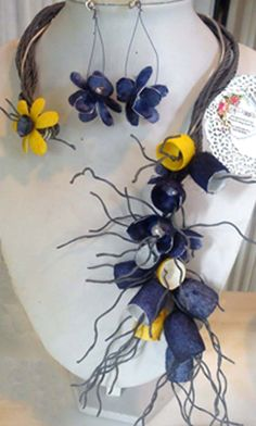 necklace and earrings with blue and yellow silk cocoons