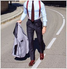 Men's Grey Wool Blazer, Light Blue Dress Shirt, Navy Vertical Striped Dress Pants, Burgundy Leather Oxford Shoes