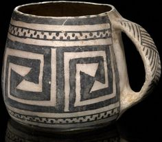 Cup/Mug, probably Pueblo (Anasazi) 13 x x 10 cm Cliff Palace, Mesa Verde National Park; of Farmington, New Mexico; acquired by MAI in NMAI Native American Baskets, Native American Pottery, Native American Art, American Indians, Ceramic Cups, Ceramic Pottery, Pottery Art, Ceramic Art, Southwest Pottery