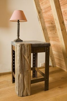 Nothing is more beautiful than the pure harmony of different materials blending together. Concrete Furniture, Metal Furniture, Industrial Furniture, Rustic Furniture, Table Furniture, Furniture Design, Concrete Wood, Rustic Side Table, Wood Table