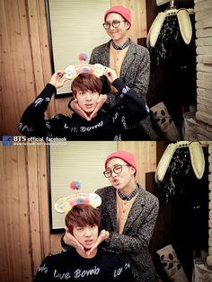 Jin and Rapmon ♡♡♡ #HappyBTSJINDay >> Jin looks so done in the second image XD