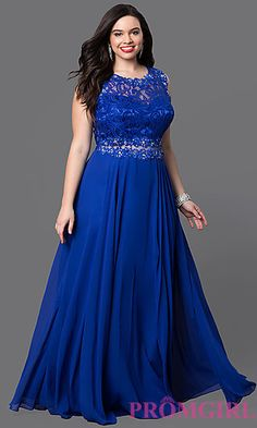 Long Mock Two Piece Chiffon Plus Prom Dress at PromGirl.com