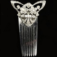 KTF Trifari 'Alfred Philippe' Deco Pave and Baguettes Butterfly and Flowers Hair Slide, before Dec 1937