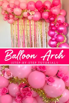 Decorate your next party with a gorgeous pink ombre DIY Balloon arch with flowers. Style this cheap DIY balloon arch as a backdrop or on the wall at your next birthday party, baby shower or wedding. Discover how to make a balloon arch without helium your guests with love with my easy step-by-step tutorial. #diyballongarland #diyballoonarch #balloondecorationideas #weddingballoons #birthdayparty #diybackrop #diyphotobackdrop Fiesta Party Decorations, Bachelorette Decorations, Engagement Party Decorations, Birthday Party Decorations, Pink Balloons, Wedding Balloons, Diy Party Table, Diy Unicorn Party, Diy Party Crafts