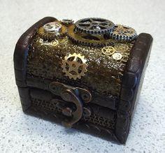 Mini Trinket Box with Steampunk Gear by thecurioddityshop on Etsy