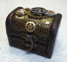 Mini Trinket Box With Steampunk Gear Mechanism