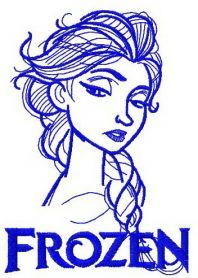 Elsa sketch 11 machine embroidery design. Machine embroidery design. www.embroideres.com