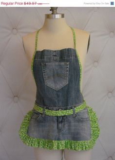 Denim Blue Jean Ruffle Apron  White Daisy and by LizzyBethDesigns, $39.98/