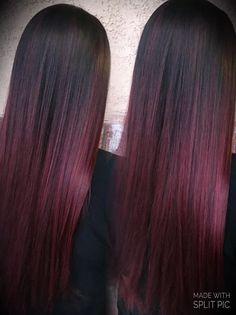 Red Ombre Hair, Ombre Hair Color, Hair Color Balayage, Hair Color For Black Hair, Hair Highlights, Cool Hair Color, Red Balayage Hair Burgundy, Black And Burgundy Hair, Peekaboo Highlights