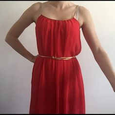 Red Grecian maxi dress Red chiffon maxi dress, lined with a MINI skirt, gold strap detail and gold chord for tie at waist, long Dresses Maxi