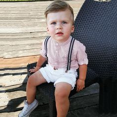 Oh my, isn't he adorable? Dapper Dude Button Down Shirt, Shorts, & Suspenders Set - Baby Boy Dress, Cute Baby Boy Outfits, Toddler Boy Outfits, Cute Baby Clothes, Kids Outfits, Boys Dressy Outfits, Toddler Boy Fashion, Little Boy Fashion, Kids Fashion