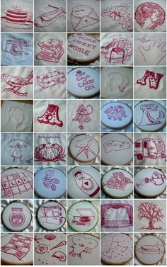 Redwork.  I love this idea!  Would be neat to do for a quilt for my daughter or with another family member