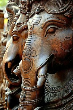 Wooden Idols of Ganesha; supposed to be remover of obstacles, - I'm betting he's pretty into recycling, too. Largest Collection of Lord Ganesha on the Planet Lord Ganesha, Shri Ganesh, Krishna, Hindu Art, Indian Gods, Gods And Goddesses, Wood Sculpture, Deities, Mandala