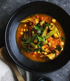Very ripe tomatoes make all the difference in our okra, eggplant and turmeric stew. Serve with bread or on a grilled fillet of fish.