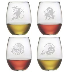 This wicked set of 4 stemless wine glasses has a different Halloween design on each glass.