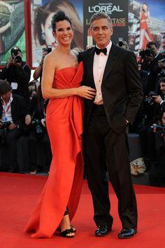 "2013 ""Gravity"" premiere Venice Film Festival - Sandra Bullock in Giorgio Armani and George Clooney in J.Mendel"