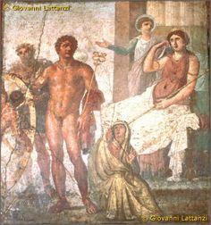 Pompei, casa dei Vettii Нимб у персонажа на заднем фоне. Римский рисунок чем-то напоминает икону.