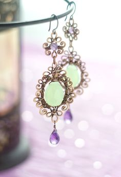 RESERVED  Wire wrapped copper mint aqua and purple by SabiKrabi, $60.00
