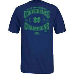 2013 Notre Dame Women's Basketball Big East Conference Tournament Championship T-Shirt. The Lady Irish Basketball team has won their first ever Big East Conference Tournament Championship in spectacular fashion! Celebrate their big win in this short sleeve t-shirt with printed team and Champions graphics. Men's/Unisex size. Collegiate Navy. 100% cotton.