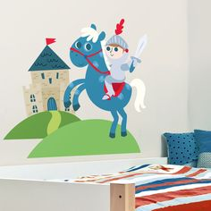 Little Knight, Castle & Horse - Letter Monogram - Printed Wall Decals Stickers Graphics