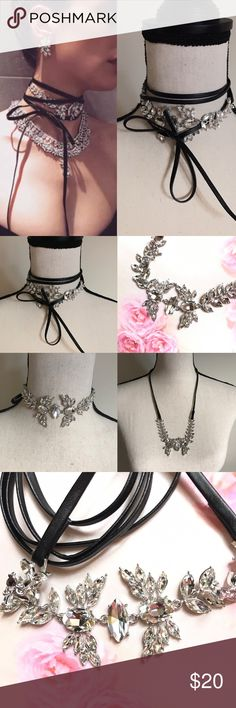 3/8 HP Rhinestone choker necklace Super elegant piece, you can wear it in many ways dress up or down surely a looker  Brand New WOT has long black leather ties attached to each end silver plated dazzling rhinestones  Made with great quality❗️low balls will be ignored ❌    BUNDLE & SAVE 15% ✨TOP RATED SELLER✨ SAME DAY OR NEXT DAY SHIPPING! ❤REASONABLE OFFERS WELCOME❤ ❌NO TRADES OR PAYPAL❌ Jewelry Necklaces