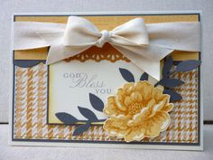 Stippled Yellows...So Saffron, More Mustard and Basic Grey, using Stippled Blossoms and Trust God sets - thanks Amy!