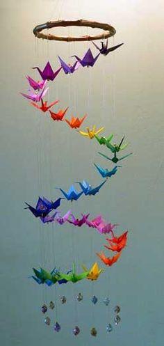 Bright Eleven Origami Crane Spiral