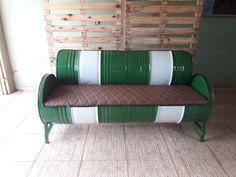Diy Furniture, Outdoor Furniture, Metal Drum, Outdoor Sofa, Outdoor Decor, Metallica, Design, Home Decor, Drum