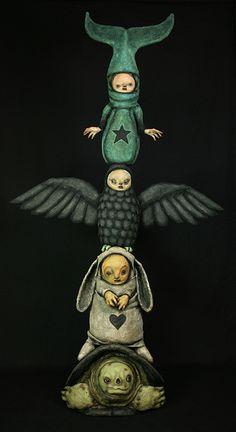 "Very cool totem art - Morgan Spurlock Totem 2012 - 68""h x 36""w - by Scott Radke on Flickr"