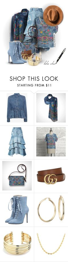 """""""Boho Chic Style Notes"""" by steadythreadsstudio ❤ liked on Polyvore featuring Alexander McQueen, Jonathan Simkhai, Gucci, Blue Nile and Belk Silverworks"""