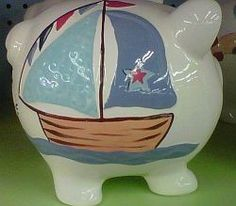 Child to Cherish Nautical Piggy Bank - $24.99 - Save an additional 15% on Babysupermarket.com! Enter Code:15OFF at checkout - Just click this pin!