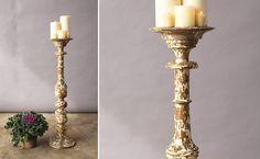 Pillar Candle Holder, Mango Wood, Handpainted Pillar Candle Holder