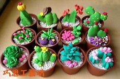Polymer clay cactus and succulents Cute Polymer Clay, Cute Clay, Polymer Clay Miniatures, Polymer Clay Charms, Polymer Clay Creations, Diy Clay, Clay Crafts, Diy And Crafts, Painted Rock Cactus
