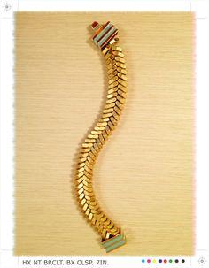 "Brass ""Fishbone"" Hex Nut Bracelet"