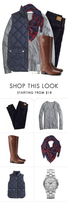 Plaid, navy  gray by steffiestaffie ❤ liked on Polyvore featuring American Eagle Outfitters, J.Crew, Tory Burch, Forever 21, Marc by Marc Jacobs and Accessorize