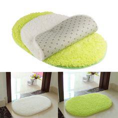 1Pcs 40*60CM Bathroom Carpets Absorbent Soft Memory Foam Doormat Floor Rugs Oval Non-slip Bath Mats Green White